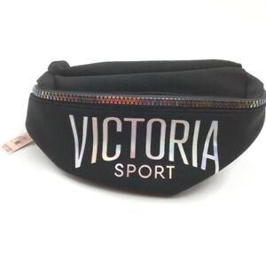 Victoria's Secret Sport BELT BAG Fanny Pack Black Silver Iridescent Zipper NEW