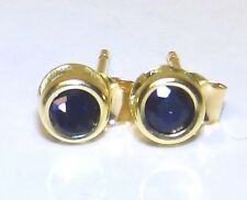 Sapphire Solitaire Stud Earrings 9CT 9 Carat  Yellow Gold