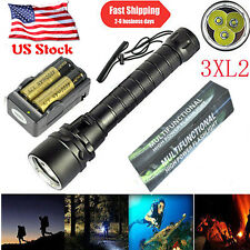 Underwater 100m 25000LM XM-L2 3 LED Scuba Diving Flashlight Torch 18650 Charger