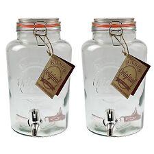 2Pc Large Kilner Clip Glass Top Storage Drink Wine Dispenser Jar With Tap 5L New
