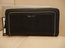 NEW WT WOMEN'S NINE WEST BLACK SPLIT THE DIFF ZIP AROUND WALLET LEATHER SNAKE
