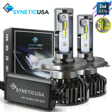 Syneticusa 9003/H4 CSP 6000K White LED Headlight Bulbs Conversion Kit Hi-Low