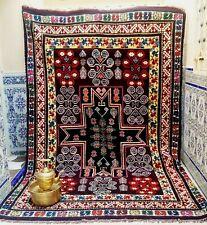 """Vintage Boujad rug Moroccan Tribal wool Handmade Berber Bohemian  9'5"""" x 6'2"""""""