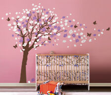 Cherry Blossom Flowers Tree Butterflies Wall Decal for Girls Room Nursery Decor