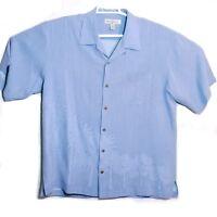 Tommy Bahama Palm Trees 100% Silk Blue Small Button-up Hawaiian Shirt