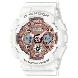 Casio G-Shock GMAS120MF-7A2 Analog-Digital Rose Gold Face White Resin Watch
