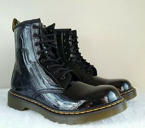 wow DR DOC MARTENS PATENT LEATHER GLOSSY 1460 Y BOOTS YOUTH Size 5 = WOMEN 6