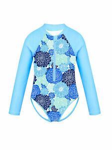 Girls One-piece Long Sleeves Swimsuits Kids Palm Printed Zippered Bathing Suits