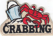 """CRABBING"" PATCH - FISHING - CRABS- SEA CREATURE  -Iron On Embroidered Patch"