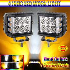 Pair 4 INCH Tri Sides LED Work Light Amber White Combo Pod for Pickup UTV ATV