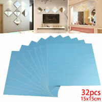 32x Mirror Tile Wall Sticker Square Self Adhesive Room Decor Stick Art Home DIY