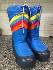 Vtg Moon Boots 70's 80's Rainbow Blue Striped Size 7-8