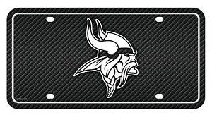 Minnesota Vikings Metal Tag License Plate Carbon Fiber Design Premium Football