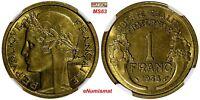 France Aluminum-Bronze 1938 1 Franc NGC MS63  KM# 885
