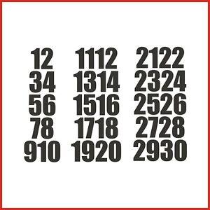 Sticky Back Vinyl Numbers 1-30 Impact 10/15/20/30/40/50mm doors signs lockers