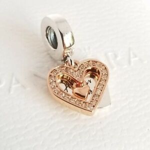 AUTHENTIC PANDORA ROSE™ SPARKLING FREEHAND HEART DANGLE CHARM #788693C01 BOX