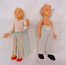 """Vintage Schleich West Germany Boy & Girl Bendy Figures - 4"""" Toys w/ Clothes"""