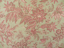 3 1/2 yards khaki and raspberry leaf and vine fabric with linen texture