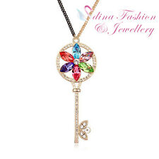 18K Gold Plated Made With Swarovski Crystal Colorful Flower Key Long Necklace