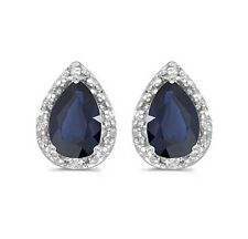 14K Genuine Natural Blue Sapphire and Diamond 1.52ctw Earrings White Gold