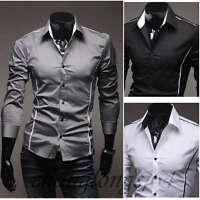 KACT79 New Mens Fashion Luxury Casual Slim Fit Stylish Dress Shirts 3 Colors