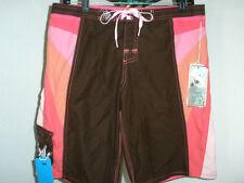 "NWT Womens/Junior's ROXY Boardshorts Sz 5 (32"") Brown/Pink/White 11"" Inseam"