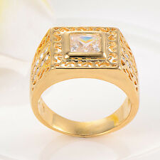 Mens crystal Yellow Gold Filled university class ring size 9.5 Punk jewelry