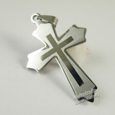 Wholesale Lot 12pcs Mens Solid Stainless Steel Big Cross Pendant Jewelry 33x52mm