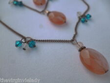 Virgin Vie 'CHERRY BLOSSOM' Necklace 3 strand Pink Blue Glass Beads *NEW*