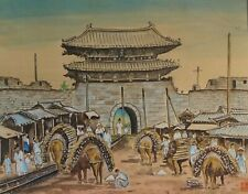 Very Fine Korean MinHwa Folk Hand Painting Scene from 1902 Gate