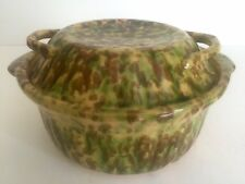 VINTAGE SPATTERWARE GREEN & BROWN COVERED CASSEROLE CERAMIC POTTERY SERVING DISH