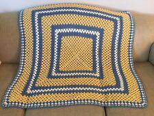 Handmade Vintage Crochet Afghan/Blanket/Blue/yellow/ White Retro Square Pattern