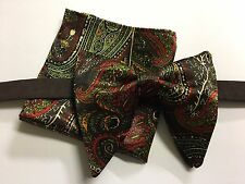 Handmade Satin Bow tie Set Brown Vintage style 70`s Bowtie Pretied Adjustable