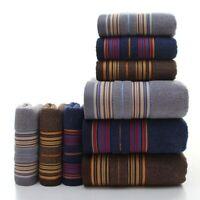 Soft Cotton Towel Set Thicker Stripe Pattern Bathroom Super Absorbent Rube 3Pcs