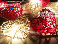 20 Red White Heart Rattan Wicker Fairy Lights String 3m Wedding Bedroom Decor