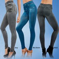 NEW Women Denim Pant Pocket Slim Leggings Fitness Plus Size Leggins Length Jeans