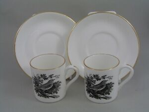 TWO CROWN STAFFORDSHIRE THOMAS BERWICK THE YELLOW WREN COFFEE CANS AND SAUCERS