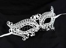 Laser Cut Mask Masquerade Costume Ball Crystal Butterfly Prom Women Bridal White