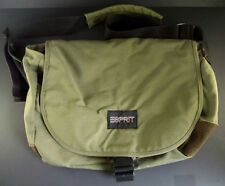 Vtg Esprit Messenger Laptop Green Nylon w/ Leather Corners Crossbody School Bag