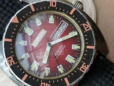 Vintage Lectos Sandoz Redfish Oltrashock Divers Watch w/Same Case as Doxa 300T