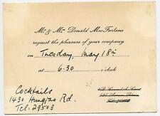 Donald MacFarlane  invitation to Canadian Consul  Shanghai China 1948