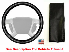 Black Genuine Leather Steering Wheel Cover Stitch On - Wheelskins 15 x 4-1/2