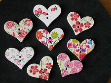 8 X PRETTY HEART SHAPED WOODEN FRIDGE MAGNET RANDOM MIXED 30.0mm x 25.0mm