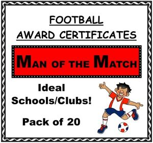 FOOTBALL Award Certificates 'Man of the Match'- 20 x A5 Quality Card Laser Print
