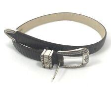 Brighton Leather Belt Womens Silver Buckle Croc Embossed Size 28 4B308  EUC