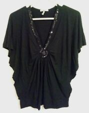 Metro 7 Womens Embellished Top Blouse Size: Small Black Beaded shirt