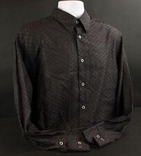 Zanella Mens Long Sleeve Dress Shirt 100% Cotton Black Size L -- INV 1135