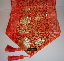 New Asian Thai Oriental Design Silk Gold/Orange Table Runner W/Tassel Home  Decor