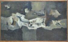 Tableau Composition abstraite peinture années 50 signée Marie L Hardy 1911-1987