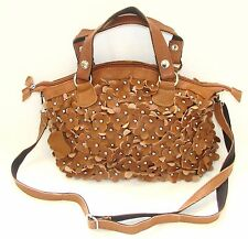 NEW-HAND MADE COFFEE,BROWN LEATHER 3-D FLORAL CUT OUT+SILVER PURSE,BAG+CROSSBODY